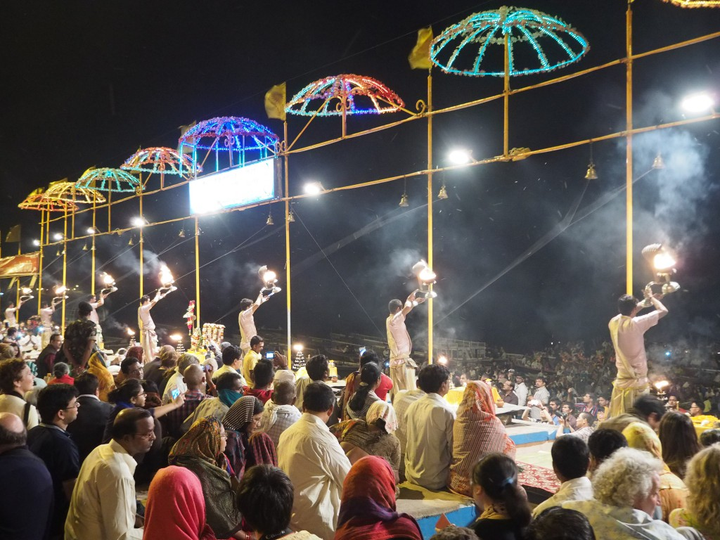 The Aarti ceremony in full swing in front of the River Ganges