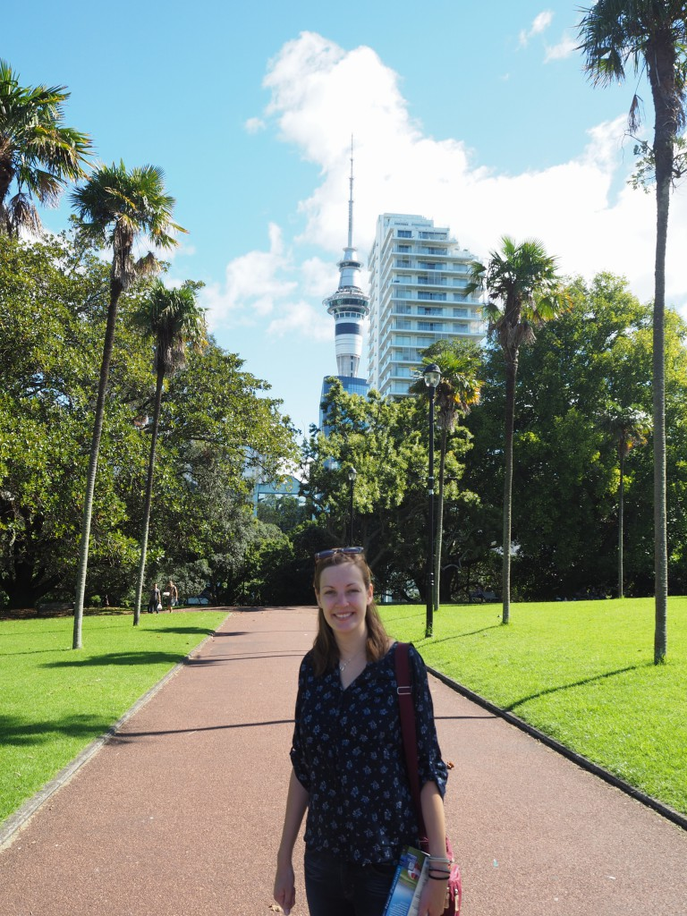 Hats on our first full day in Auckland - complete with the unmissable Sky Tower in the background