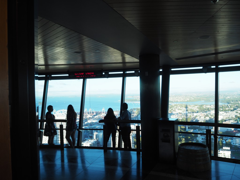 Inside the Sky Tower overlooking the whole of Auckland