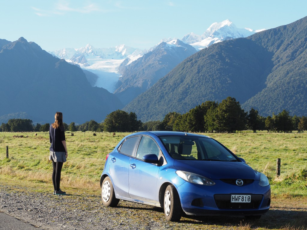 Near Matheson Lake we got the perfect car commercial shot. Mt. Cook and Fox in the distance.