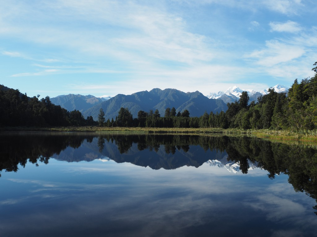 Lake Matheson reflects Mt. Cook and the mountains