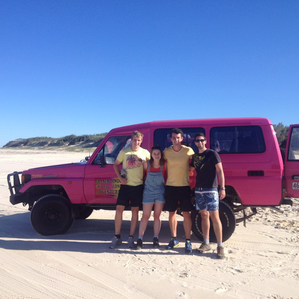 Posing with our favourite pink 4x4