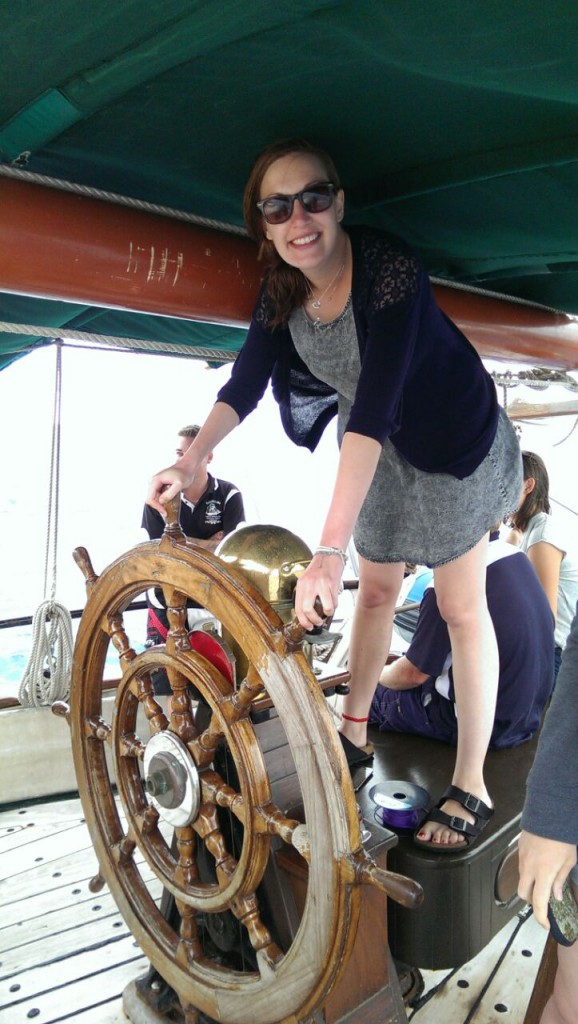 Hats driving the Solway Lass. Luckily we didn't hit anything :)