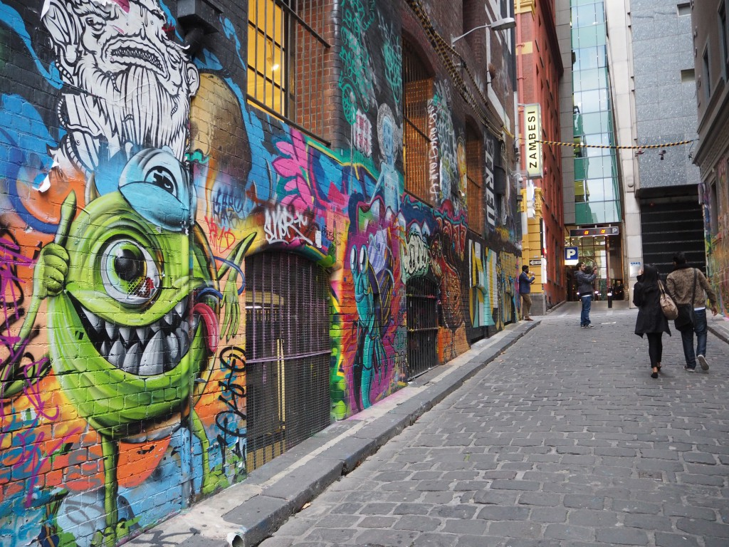 Graffiti down Hosier Lane - some political, some Monsters Inc