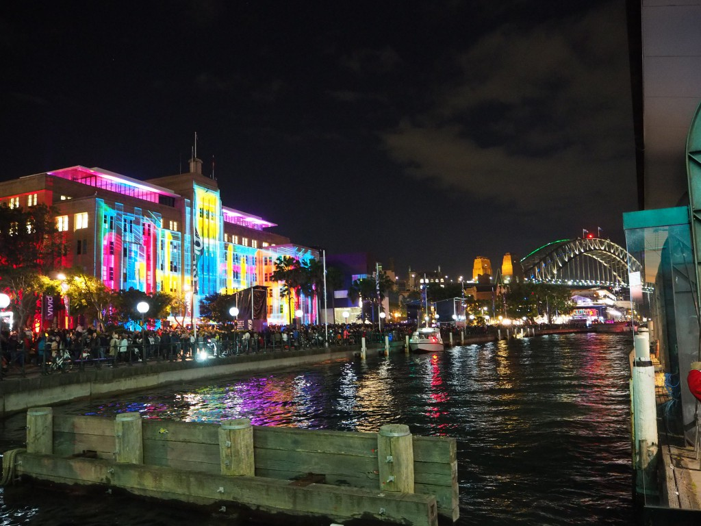 Vivid Sydney exhibition lit up the city - this is by Sydney Harbour