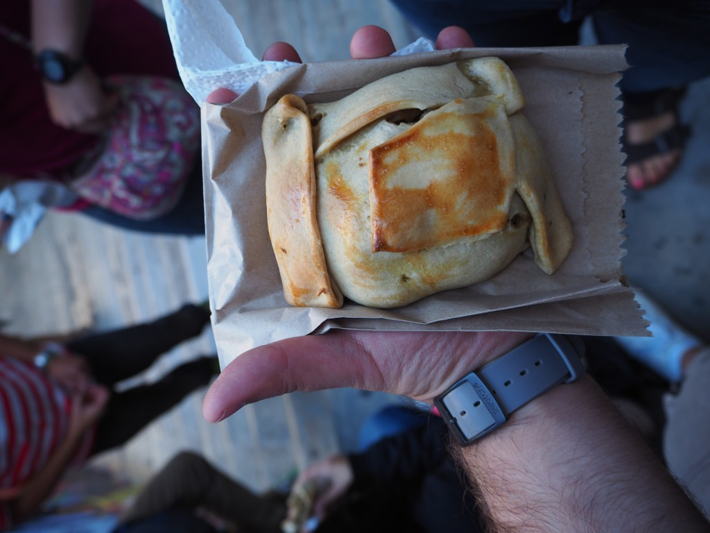 An empanada we bought from a local shop we visited on the walking tour. Luckily I spotted the massive un-stoned olive in it before a mishap...