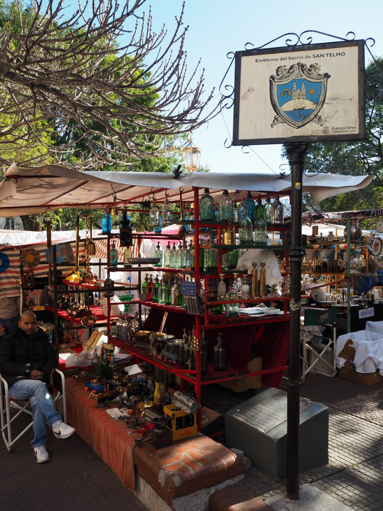 The main square of the market, selling everything from walking sticks to funky glass bottles