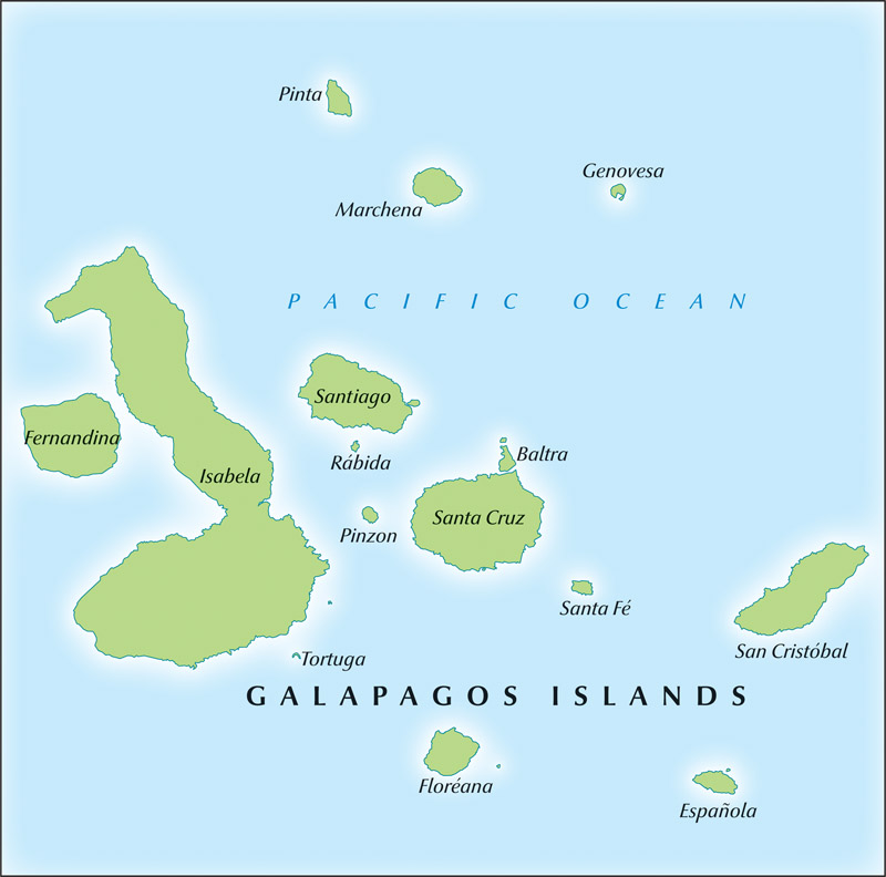 A map of the Galapagos Islands