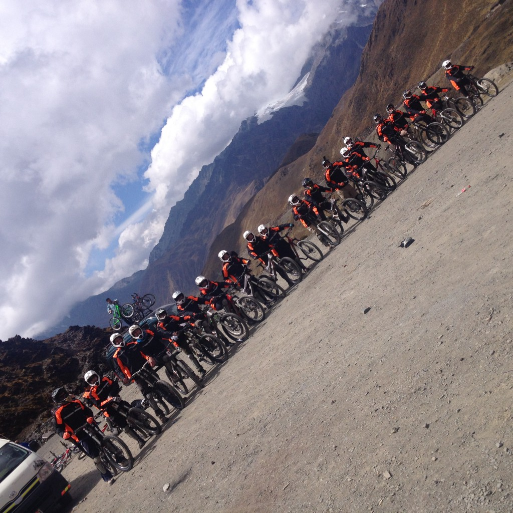 Group shot of everyone doing the downhill mountain biking (taken diagonally by one of the guides...)