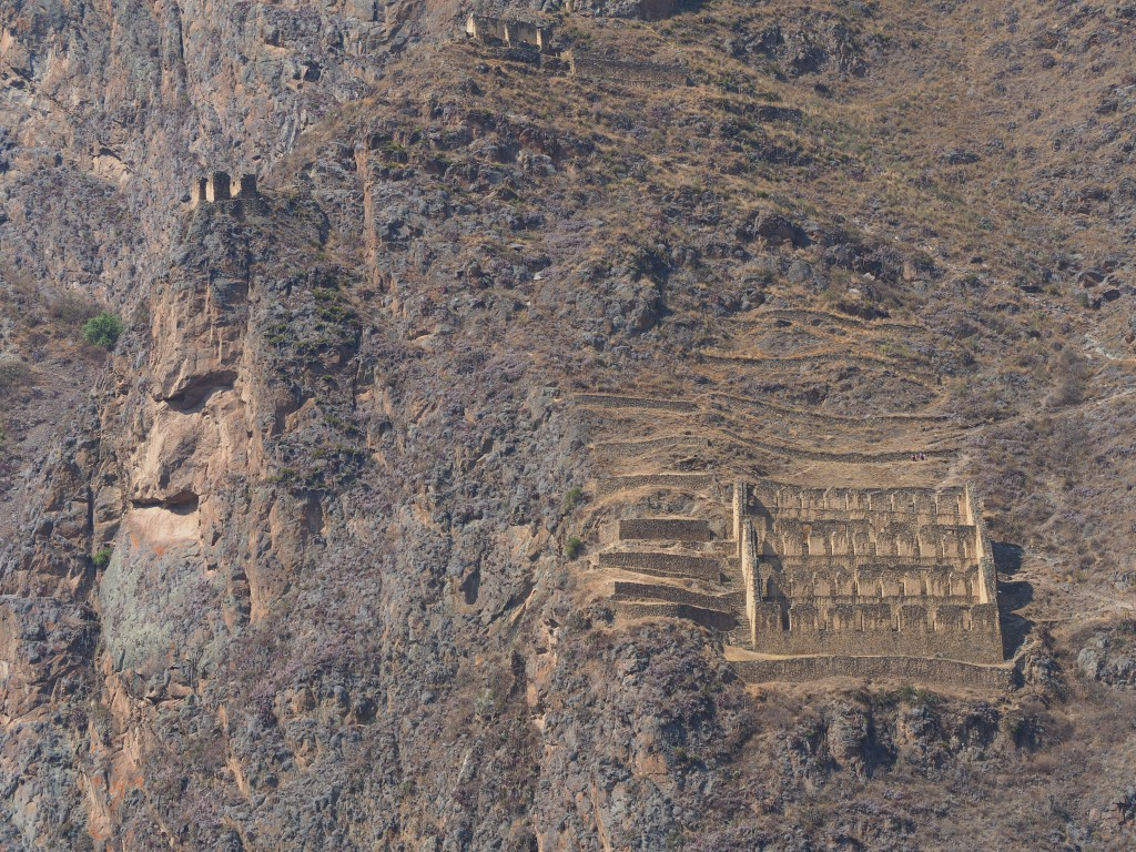 The mysterious face of Tunupa (the messenger of an Incan God) 140m high looks over the Ollantaytambo ruins (where I'm taking the picture from)