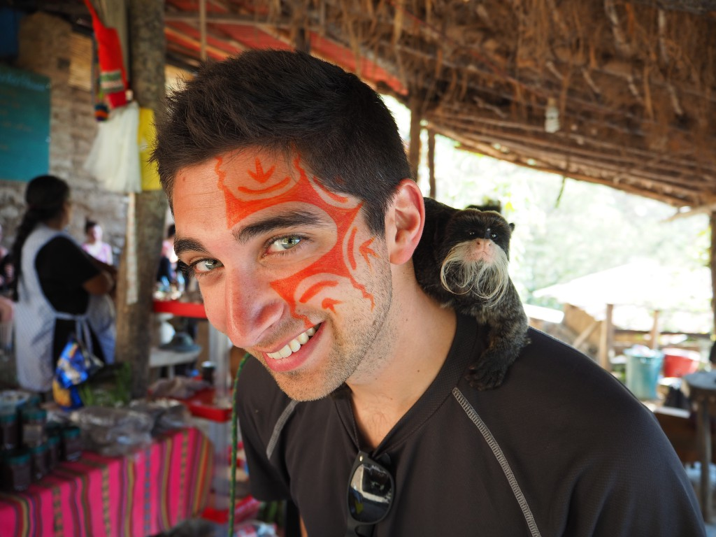 Me (complete with face art by our guide) and my moustachioed monkey friend