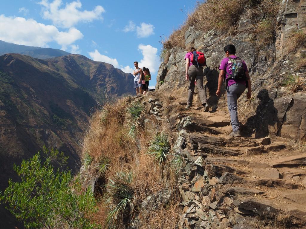 Trekking on an original Inca trail