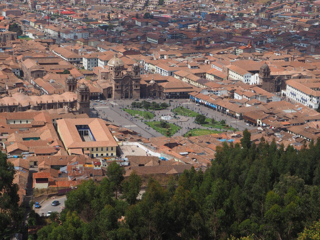 A view of modern Cusco city from the mountain top