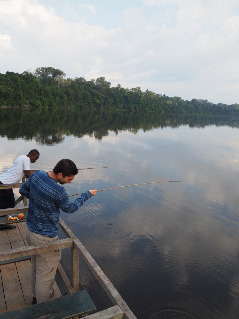 Fishing for piranha on the Oxbow Lake
