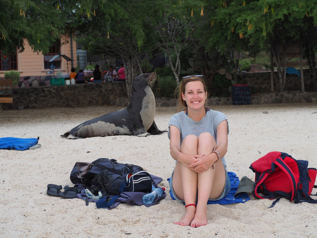 Chilling out on Playa Mann, when the sea lions weren't stealing our chill-out spots