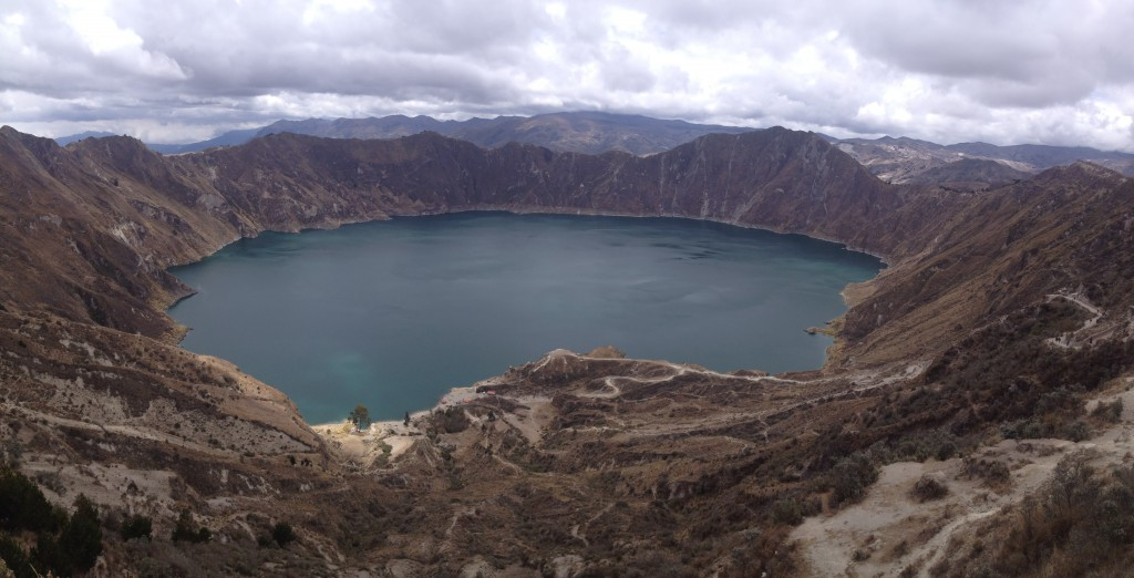Quilotoa Lake, which was actually a very bright greeny blue due to all the minerals in the crater