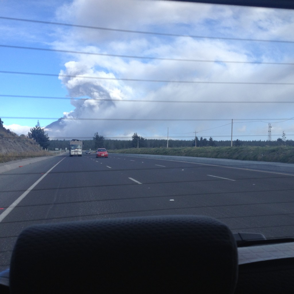 Cotopaxi volcano spewing out ash - we passed loads of road signs and trees that were covered in the thick grey ash