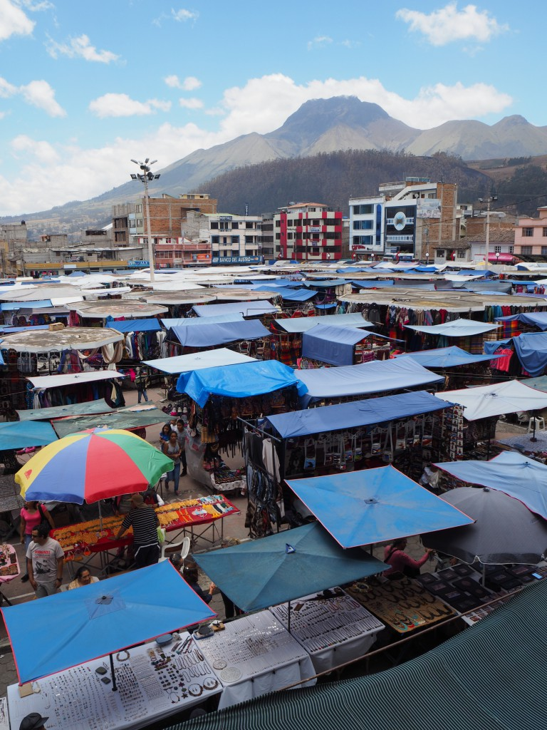 Otavalo Market in Ecuador, taken from our lunchtime cafe balcony