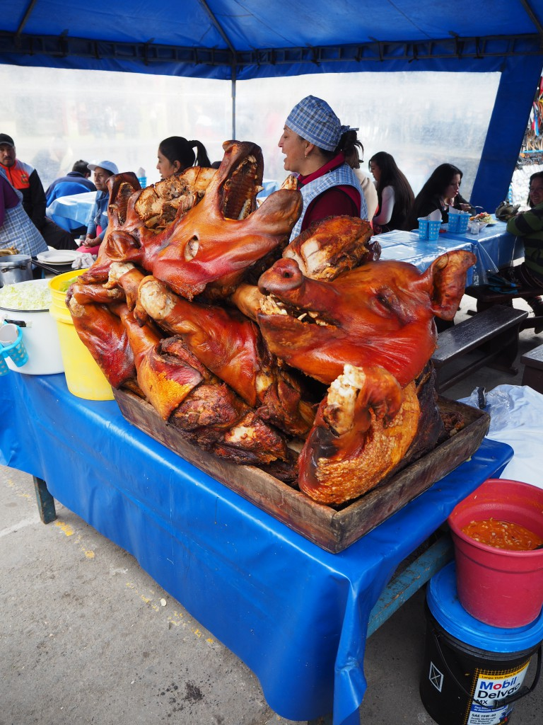 Pig heads sold in Pujili market...yum!