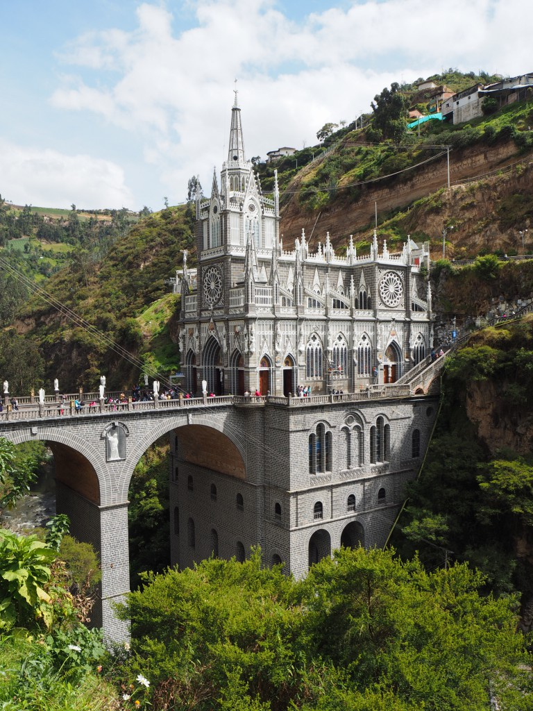 The stunning Las Lajas Sanctuary; a basilica church built inside the canyon at Ipiales