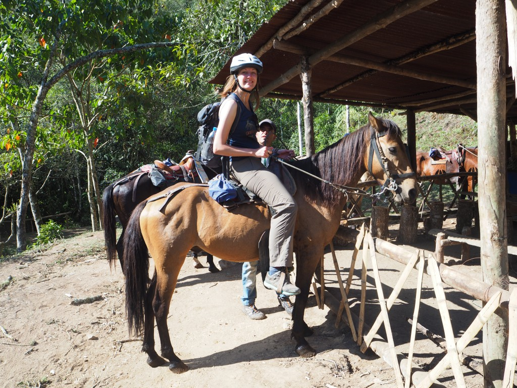 Horse riding to the nearby waterfall was much less comfortable than this picture suggests...