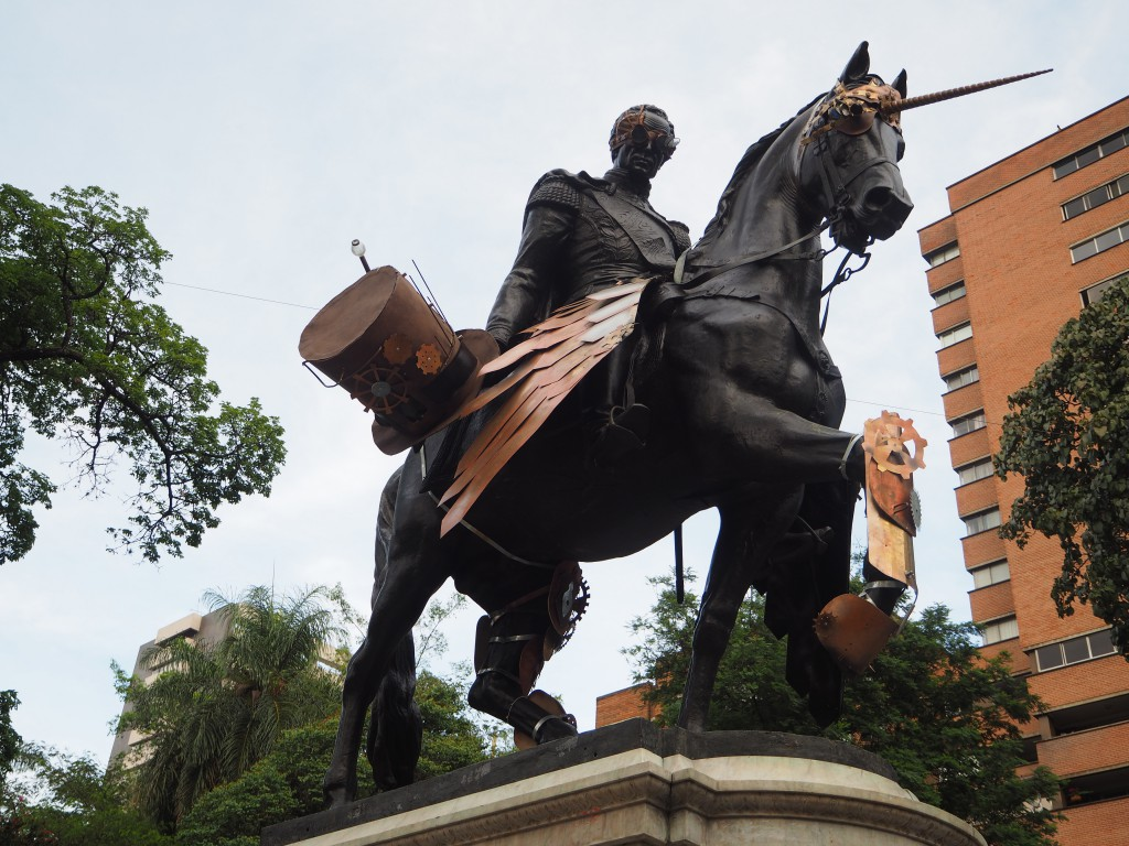 Statues in Medellin had been given a steam-punk makeover. This is Simon Bolivar on a unicorn.