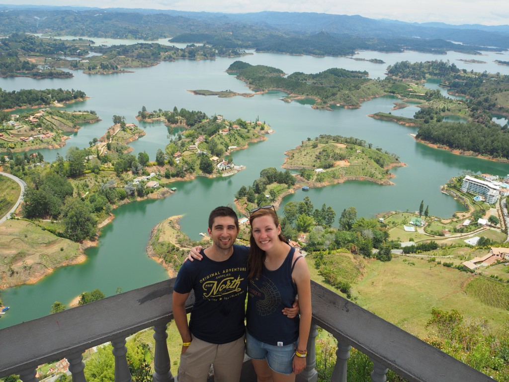 At the top of La Piedra looking over the islands of Guatape