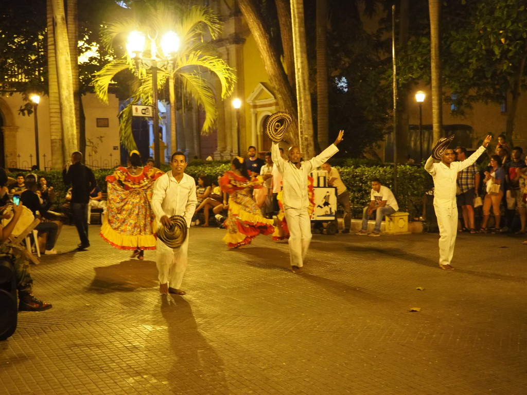Traditional dancing in one of the plazas at night in Cartagena