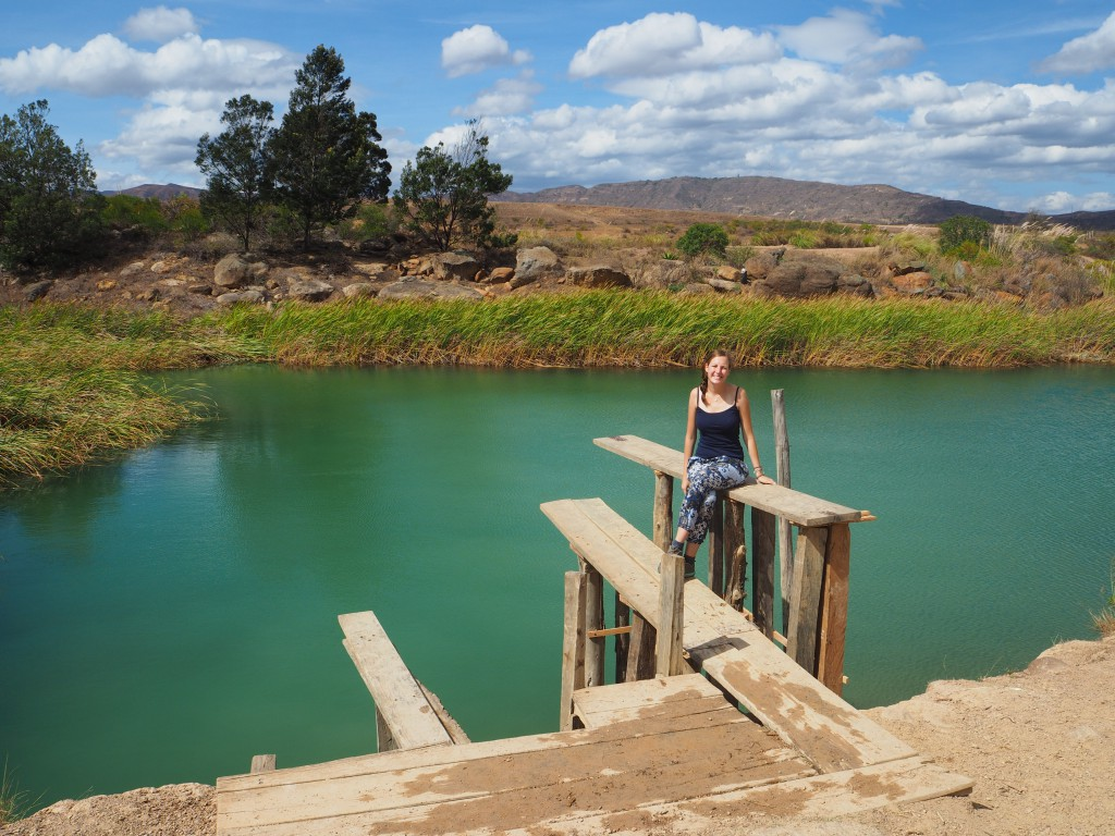 We rented some bikes out in Villa de Leyva and stopped at a couple of bright green lagoons
