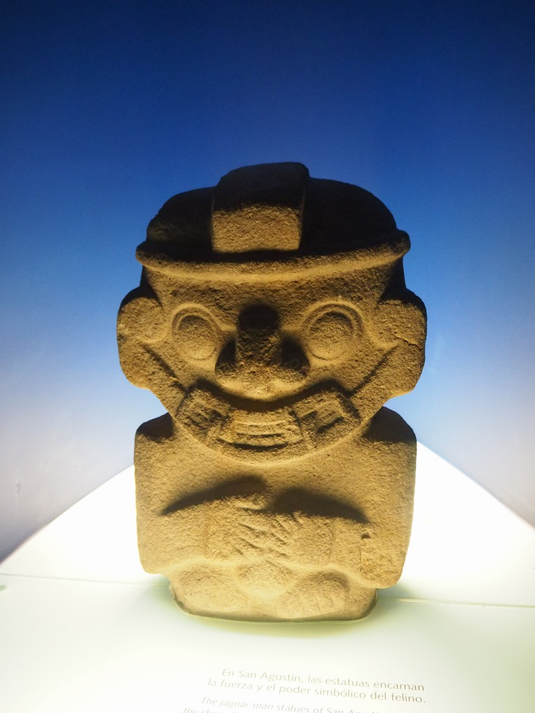 One of the amazing 3ft anthropomorphic statues from San Agustin on show in the Museo del Oro - hopefully we'll visit all the others one day!